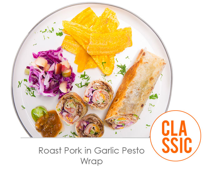 roast pork in garlic pesto wrap
