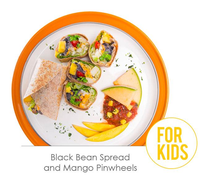 black bean spread and mango pinwheels