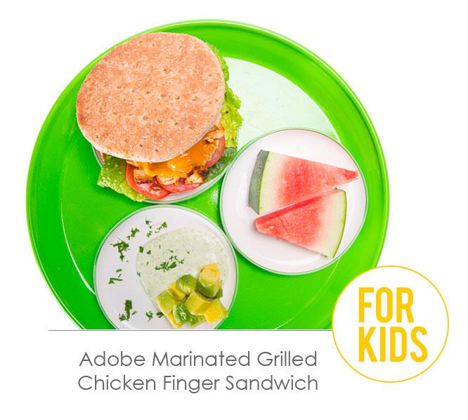 adobe marinated grilled chicken finger sandwich