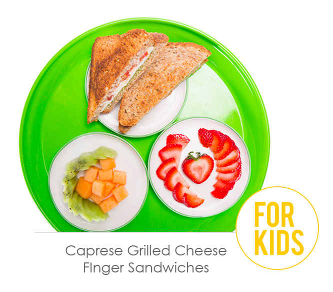 caprese grilled cheese finger sandwiches