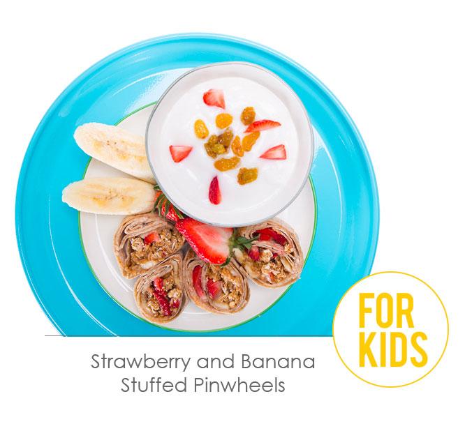 strawberry and banana stuffed pinwheels