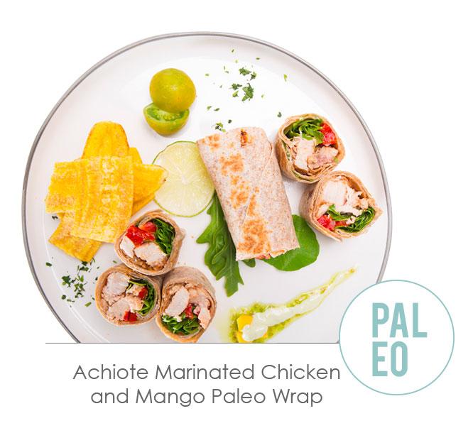 achate marinated chicken and mango paleo wrap