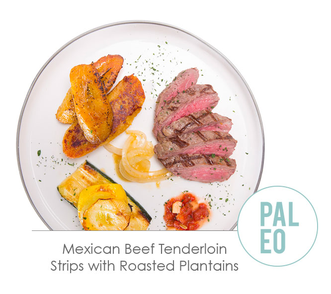 mexican beef tenderloin strips with roasted plantains
