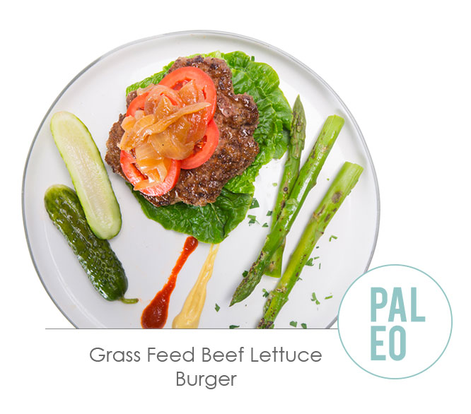 grass feed beef lettuce burger