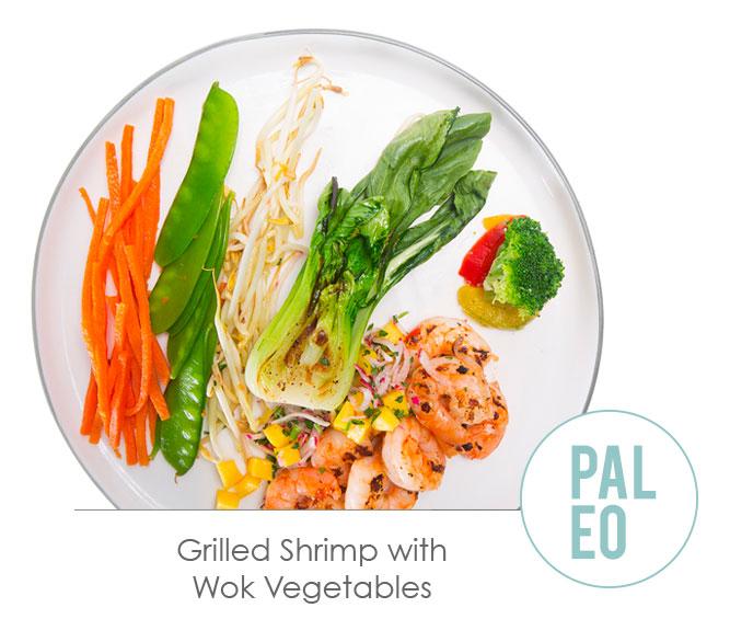 grilled shrimp with wok vegetables