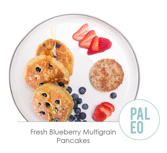 fresh blueberry multigrain pancakes