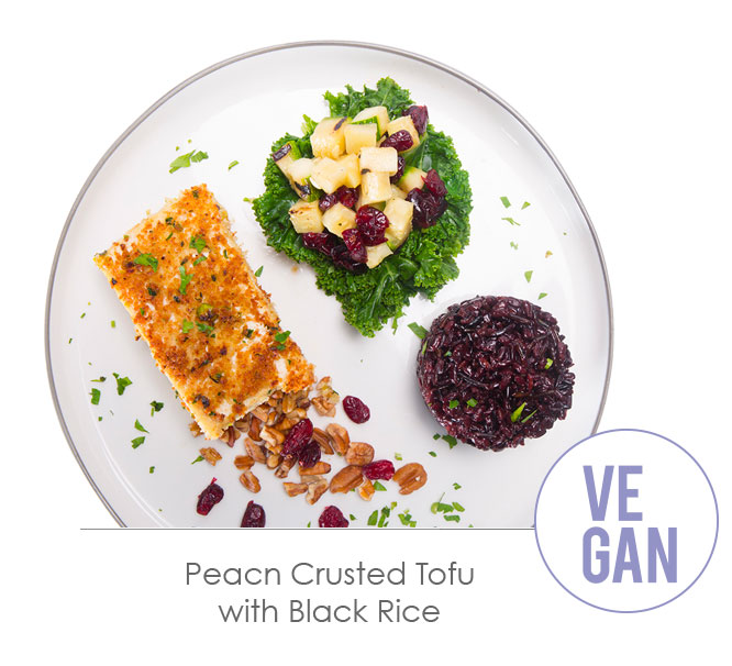 peacn crusted tofu with black rice