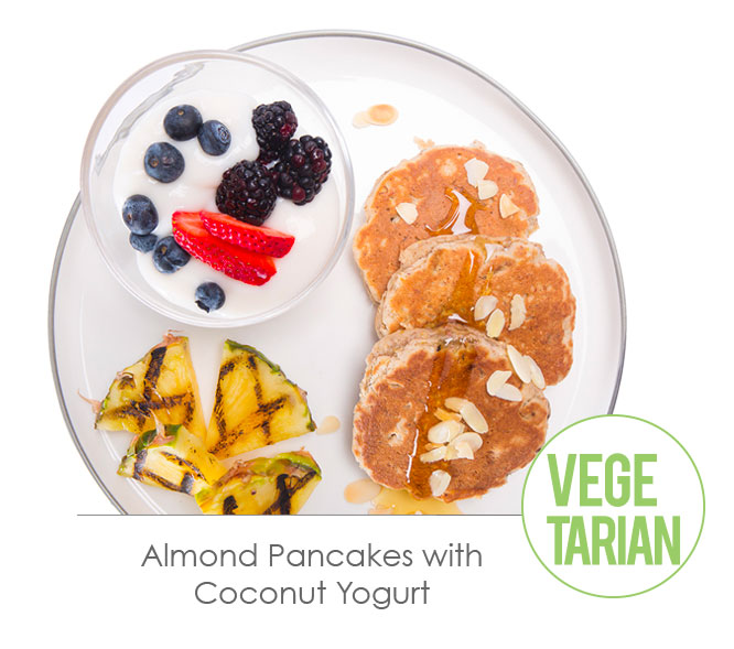 almond pancakes with coconut yogurth
