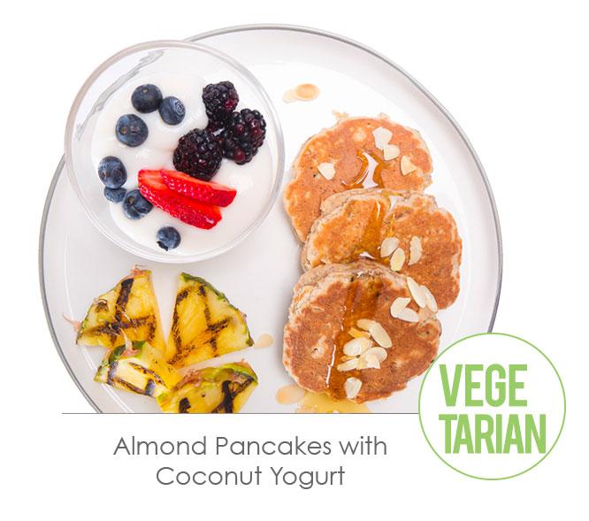 almond pancakes with coconut yogurth