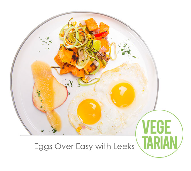 eggs over easy with leeks
