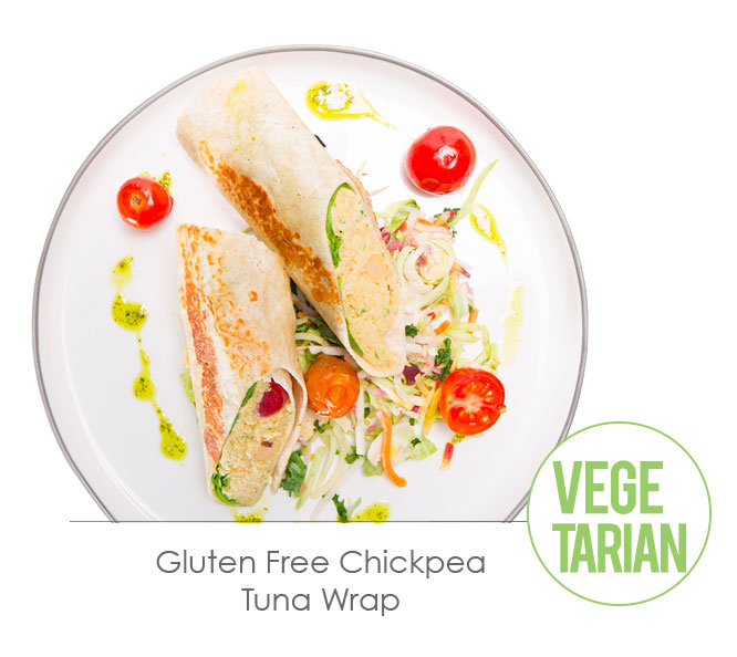 gluten free chickpea tuna wrap