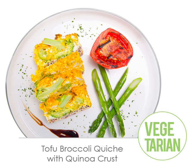 tofu broccoli quiche with quinoa crust