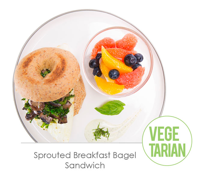 sprouted breakfast bagel sandwich