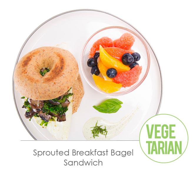 sprouted breakfast bagel sandwich